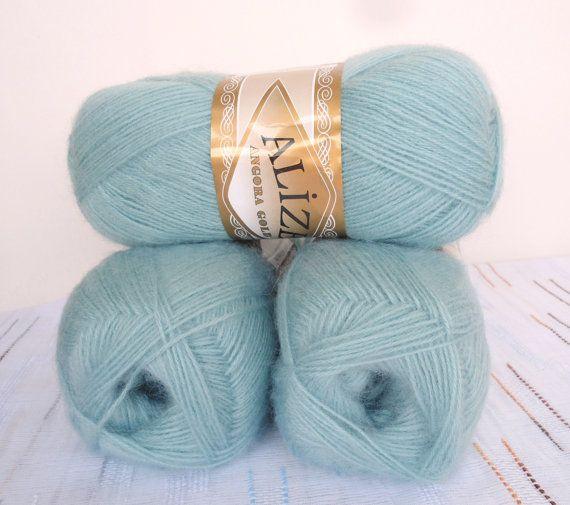 Light Blue wool mohair acrylic  yarn  1 Skeins by Yarnshopping