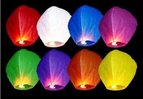 Lot de 10 pièces Lanternes celestes volantes colorées pour fêtes et moments romantiques et magiques: Lanternes celestes volantes colorées…