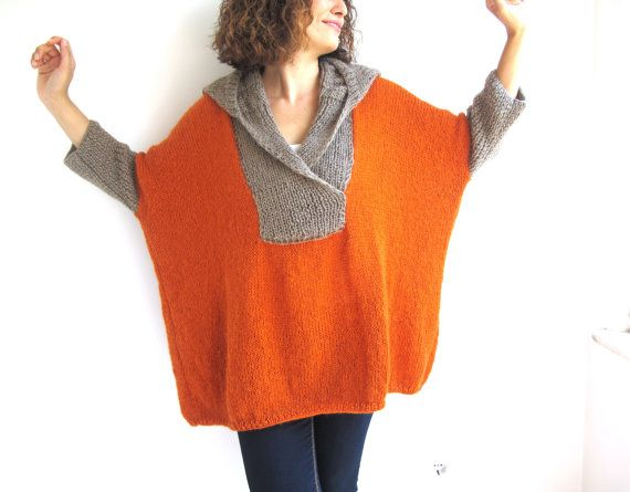 Love the color. Love the design. Love that's its plus size Orange  Beige Mohair Hand Knitted Poncho with Hoodie Plus by afra, $95.00