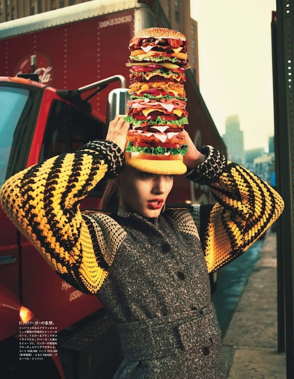 """""""Feeding My Fashion"""": Bregje Heinen and Fast Food Collage by Cedric Buchet for Vogue Nippon December 2012"""