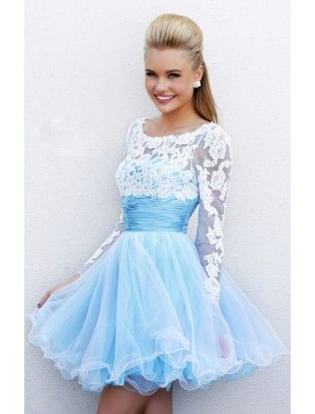 Prom dress 147$ http://www.dressshine.com/ds_en/lovely-empire-satin-and-tulle-lace-applique-long-sleeves-homecoming-dress-7254.html#.VMGtBZbvlUg