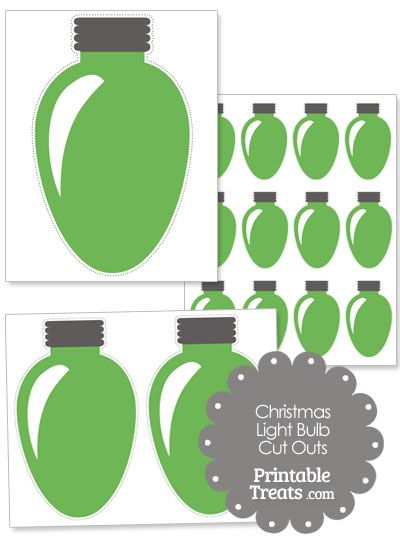Green Christmas Light Bulb Cut Outs from PrintableTreats.com