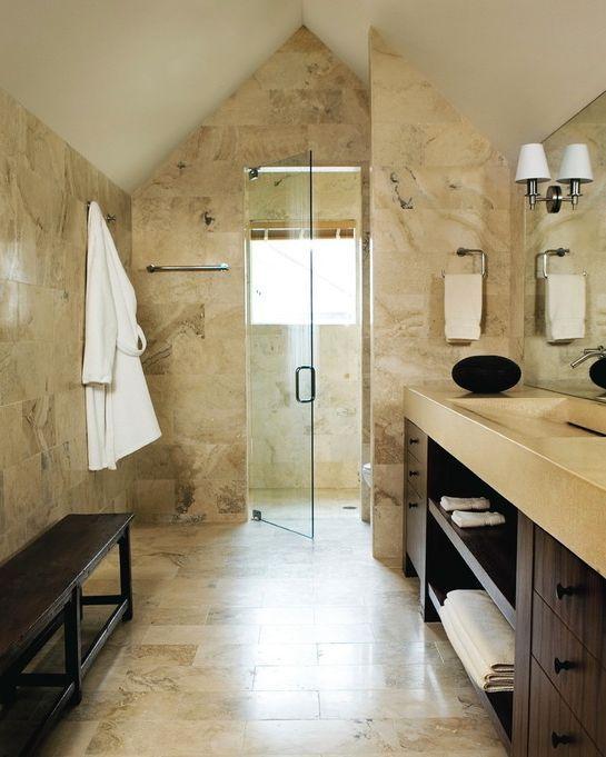 Travertine Tile Bathroom In Bathroom Contemporary With Dark Wood Cabinets  Bathroom Bench