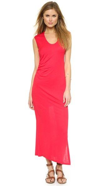 Heather Shirred Maxi Dress with Slit