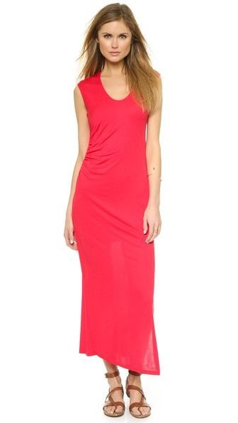 Heather Shirred Maxi Dress With Slit – Cherry
