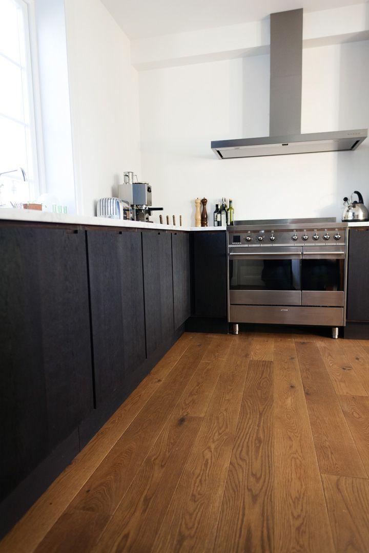 dark/black wood stained kitchen