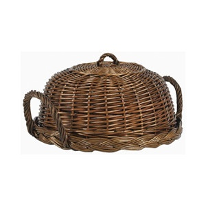 Wicker cloche with tray - wouldn't it be so nice to bring a cheese and grape tray this way to a party?