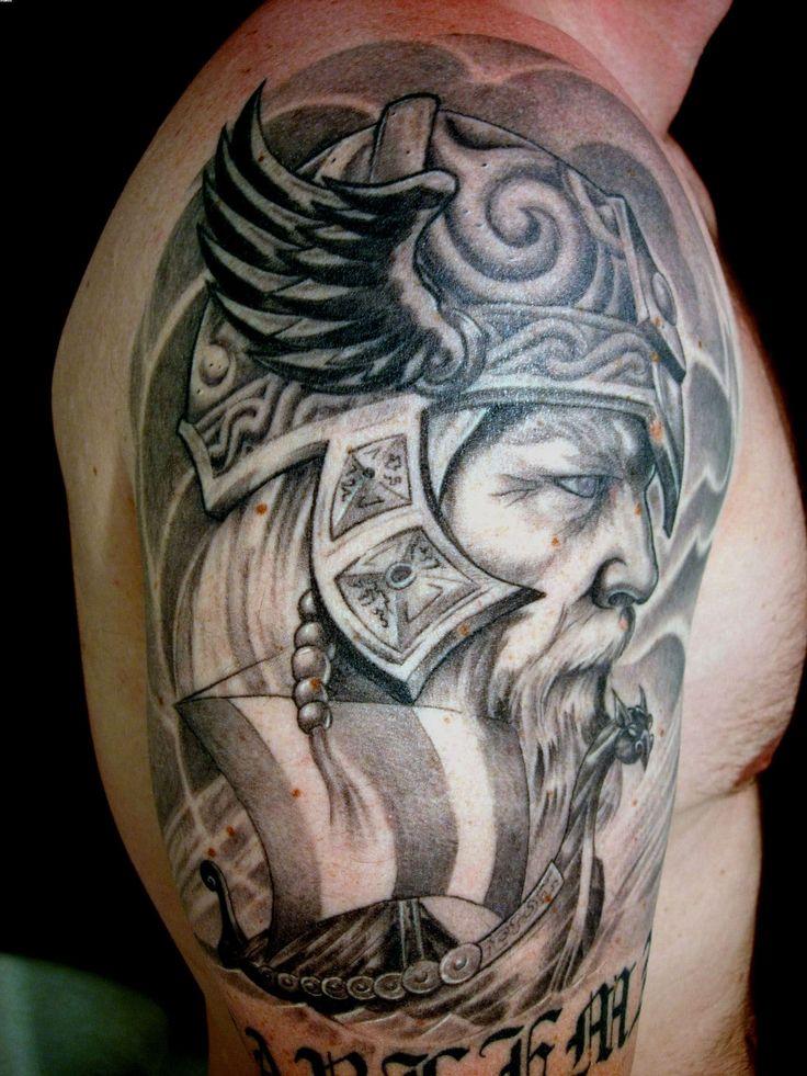Warrior Viking Tattoo: Viking-warrior-head-grey-ink-tattoo-on-shoulder.jpg (1944