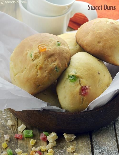 Sweet Buns recipe | Pizzas & Pasta Recipes | by Tarla Dalal | Tarladalal.com | #1844