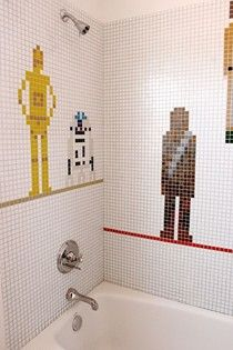 Star Wars Bathroom tiles! Who would enjoy it more, my 33 year old brother or 4 year old nephew??