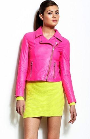Neon Leather Biker Jacket - Jackets & Blazers - Womens - Armani Exchange