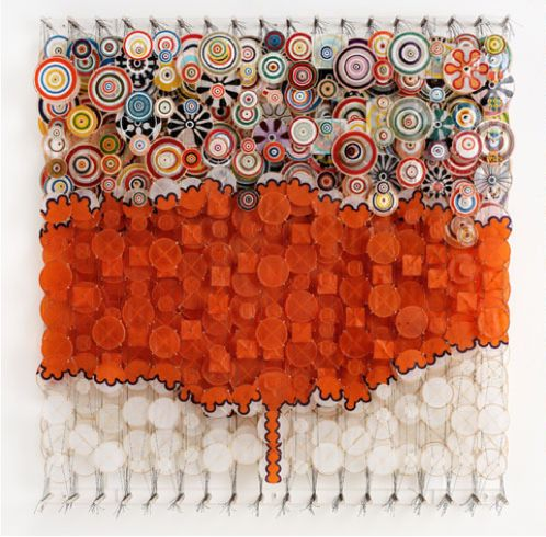 "My City Moods Come Less and Less Often  Jacob Hashimoto simulates nature without purporting to replicate it. Based in New York and of Japanese decent, Hashimoto redefines Japanese screen painting with his assemblages of paper ""kites"" in undulating, interactive compositions.: Abstract, Art Board, Art Environments, Art Inspiration, Art Driven, Art Addict, Acrylic, Artsy Fartsy, Art 2 Dimensions"