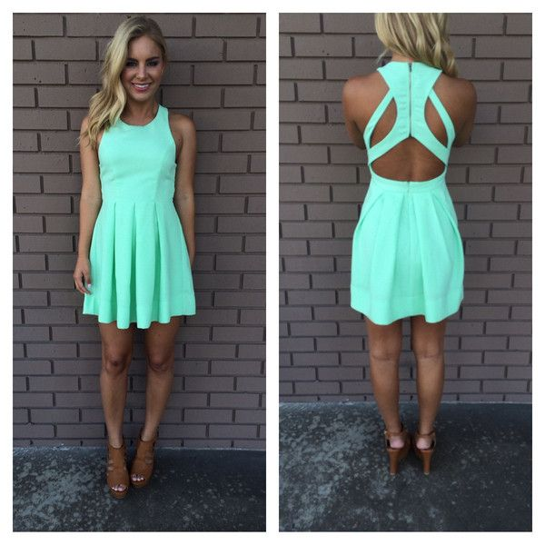 Mint Triad Cut Out Back Dress