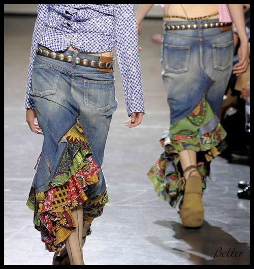 Love ruffles, fun fabrics, and it's made from jeans.