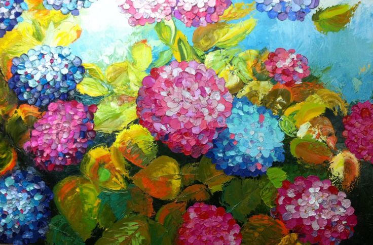 Hortensias | Hydrangeas de Analía González Nieto, óleo sobre tela