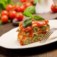 Layered spinach and mushroom lasagna