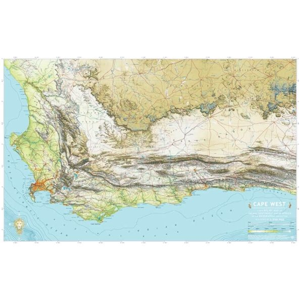 Relief map of the Western Cape, South Africa  showing mountains, rivers, valleys and plateaus. 87x55cm  www.clipclop.co.za