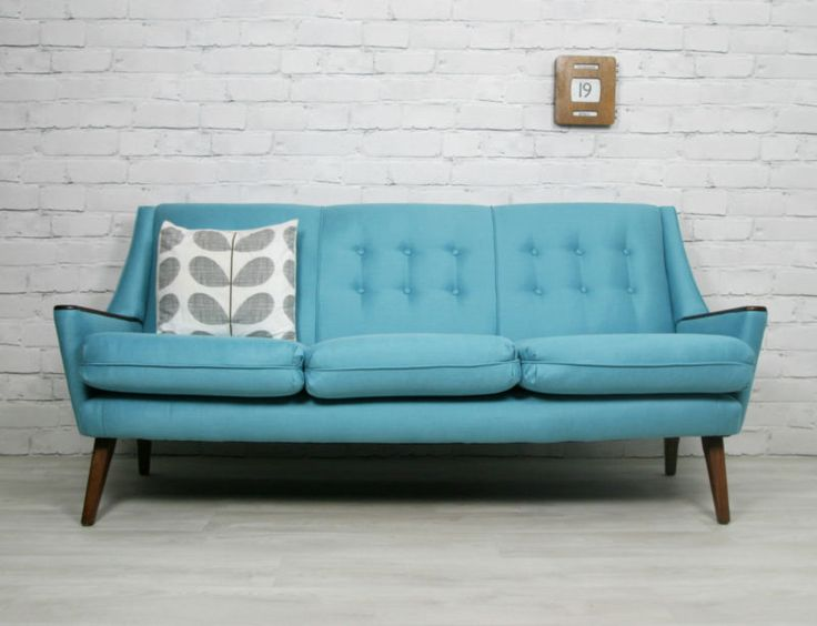 details about retro vintage mid century danish style sofa daybed eames era 1950s 60s vintage. Black Bedroom Furniture Sets. Home Design Ideas
