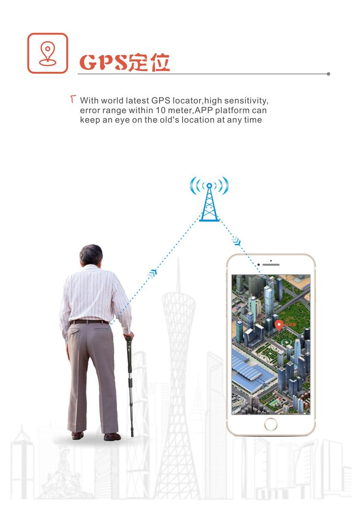 Elderly walking stick with GPS for outdoor activity