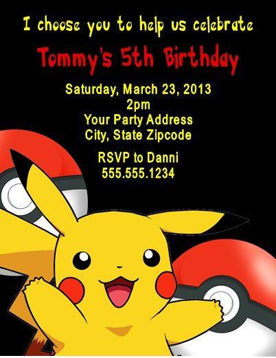 Pokemon Pikachu Birthday Party Invitation