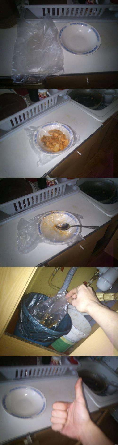 Astuce de célib pour éviter de faire la vaisselle #fail