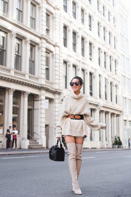 Sweater Dressing :: Cozy turtleneck & Nude suede boots :: Outfit :: Shoes :: Pour la Victoire 'Cassie' boots Top :: Free People sweater Bottom :: Vince Camuto shorts Bag :: Loewe 'Puzzle' bag Accessories :: Karen Walker sunglasses | Raina belt | Charlotte Tilbury 'Best actress' lip color PUBLISHED: November 8, 2017