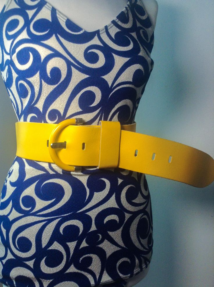 Original Vintage 80s Wide belt in extra Juicy warm yellow Rare waist or hips belt Hard faux leather looks like real Pop art fancy fun vtg by VintageVanillaShop on Etsy
