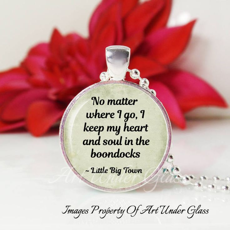 Round Medium Glass Bubble Pendant Necklace- Boondocks- Little Big Town Song Lyrics by ArtUnderGlass on Etsy