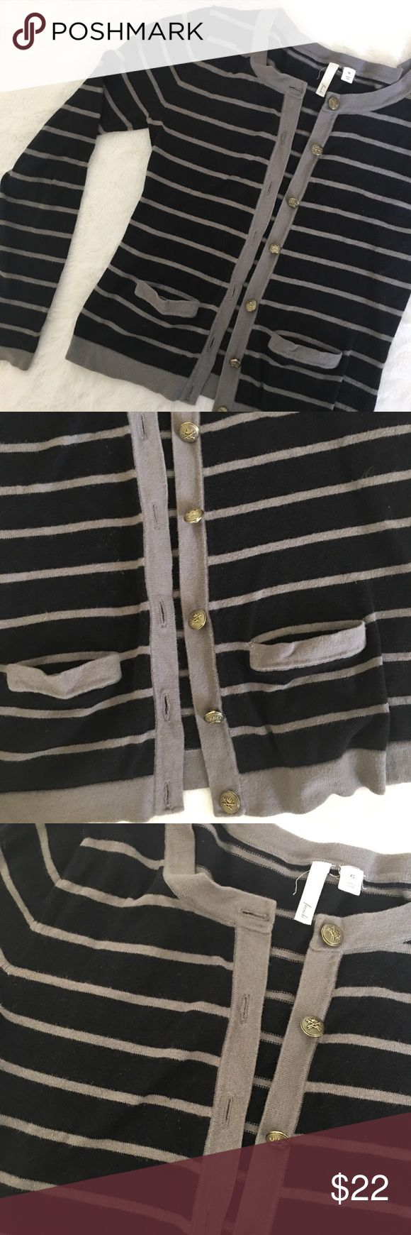 Nordstrom gray and black nautical cardigan Frenchi from Nordstrom gray and black striped cardigan. Cute nautical inspired gold buttons and front little pockets. Size XS. Gently used, good condition. Offers welcome. Bundle & save. Nordstrom Sweaters Cardigans