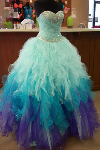 Blue & purple organza sweetheart sequins A-line long prom dresses,gown dresses for teens