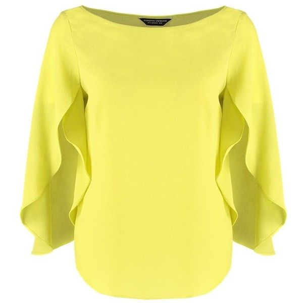 Dorothy Perkins Blouse lime green found on Polyvore featuring polyvore, women's fashion, clothing, tops, blouses, yellow, j.crew blouse, tall tops, crew neck blouse and sleeve blouse