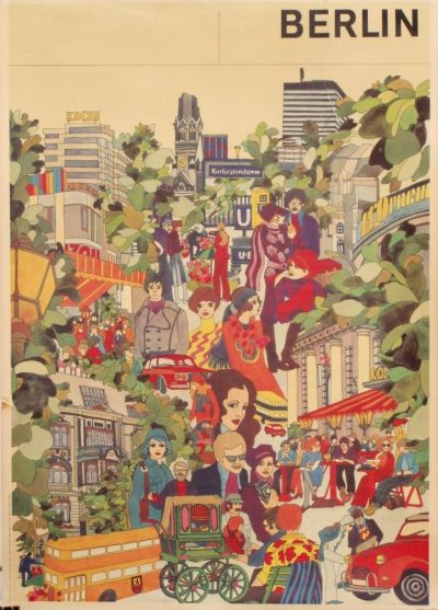 berlin vintage travel poster circa 1970 vintage travel europe pinterest 70 er jahre. Black Bedroom Furniture Sets. Home Design Ideas