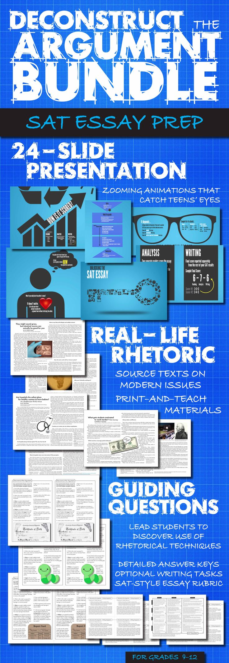 Help your students prep for the new rhetoric-based SAT Essay. Print-and-teach materials. #SATEssay #HighSchoolEnglish