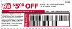 BJ's Wholesale Club Coupon – 5 off 50 #bjs #wholesale #bjscoupon #printablecoupon #coupon