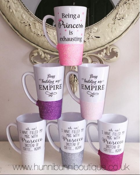 Being a Princess is exhausting l Busy building my EMPIRE l Oh  No! I have filled my mug with Prosecco instead of coffee . . . again!  ❤www.hunnibunniboutique.co.uk
