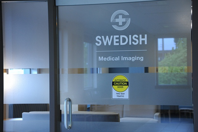 Frosted glass door, Logo, Swedish Medical Imaging, Caution Automatic Door, Two way traffic, sign, Ballard, Seattle, Washington, USA by Wonderlane, via Flickr