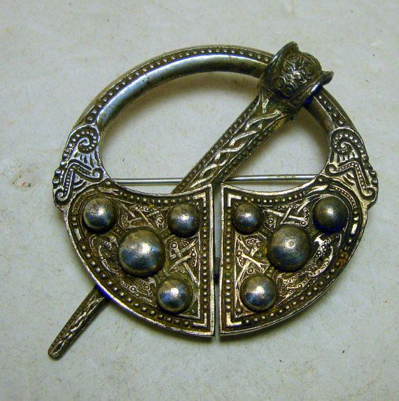 Celtic Pennanular Brooch Pin, Fashionable In Ireland 2 To 10th Century,  Reproduction 1980s, Pewter Look Metal