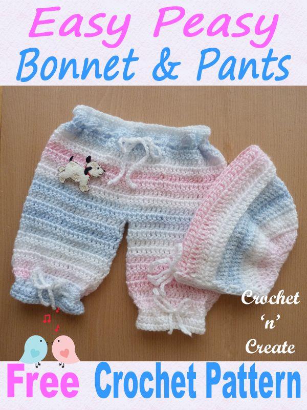 564736b17 Easy Peasy Bonnet-Pants UK Free Crochet Pattern