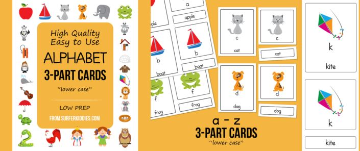 3-Part Cards for Alphabet, English, Lower Case, a – z