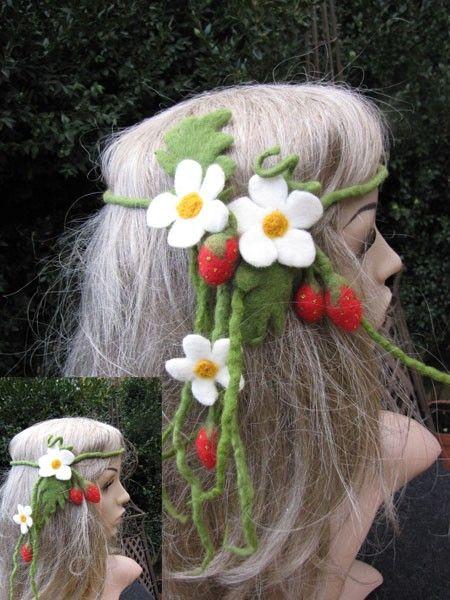 Strawberry fairy crown , hair wreath, felted hair accessories