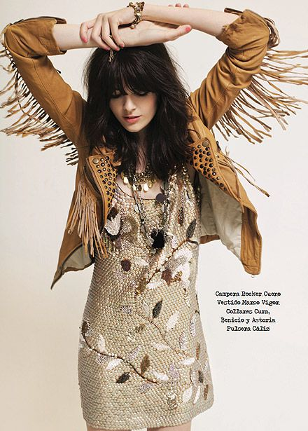 The dress isn't exactly my cup of tea... But that jacket!!! Fringed, studded, tan leather & fitted. Yes please! Rapsodia.