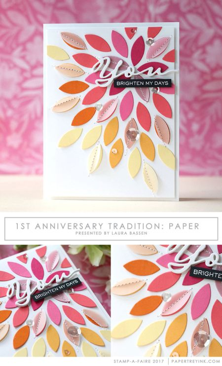 1st Anniversary Tradition: Paper -  Using Paper Scraps with Vellum Layers with Laura Bassen for Papertrey Ink (August 2017)