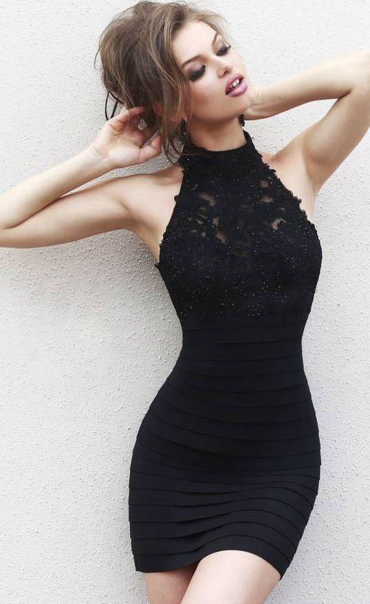 Black satin body hugging dress