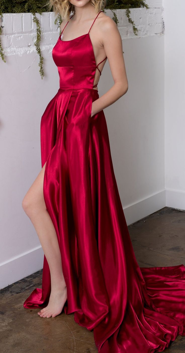a-line halter backless sweep train red satin prom dress with