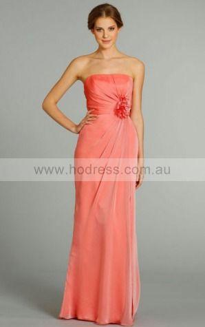 Chiffon Strapless Natural A-line Floor-length Bridesmaid Dresses 0740471--Hodress