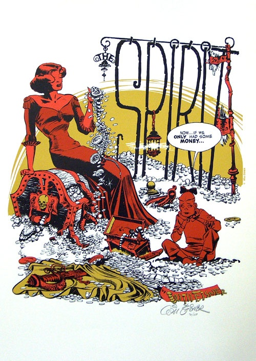 The Spirit splash page by Will Eisner.  Will Eisner's comic book splash pages: fantastic illustration + lettering.