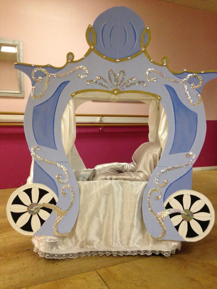 Cindarella carriage built out of foam board, PVC and a little paint,ribbon and…