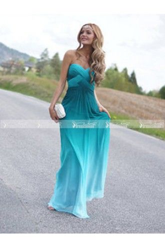 Sweetheart-neck Strapless Peacock Green Long Chiffon Cheap Ombre Evening Dress,Ombre - $139