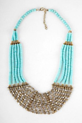 Rock Candy Bib Necklace in Sky Blue