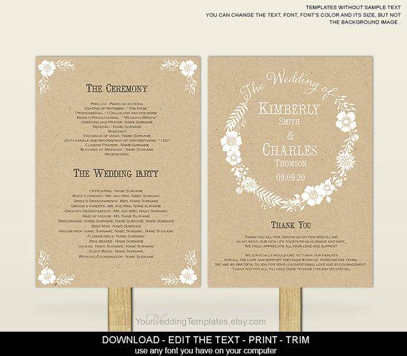 Printable Wedding program fan template-Wedding program fan template-Download instantly-rustic wedding